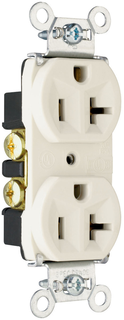 Mayer-Hard Use Spec Grade Receptacle, Back & Side Wire, 20A, 125V, White-1