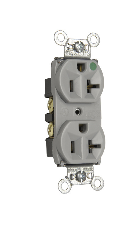 Mayer-Heavy-Duty Hospital Grade Compact Design Receptacle, Back & Side Wire, 20A, 125V, Gray-1