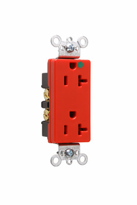 Mayer-Heavy-Duty Decorator Hospital Grade Receptacles, Back & Side Wire, 20A, 125V, Red-1