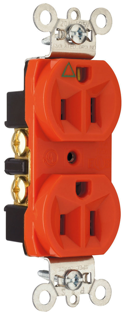 Mayer-Isolated Ground Heavy-Duty Spec Grade Receptacles, Back & Side Wire, 15A, 125V, Orange-1