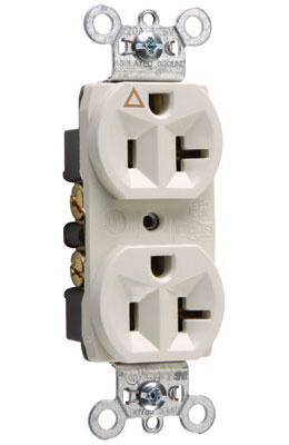 Mayer-Isolated Ground Heavy-Duty Spec Grade Receptacles, Back & Side Wire, 20A, 125V, White-1