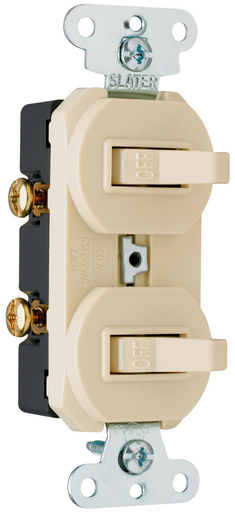 Mayer-Two Grounding Single-Pole Combination Switches, Ivory-1