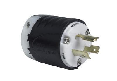 20 Amp NEMA Plug L1020 - Black Back, White Front Body