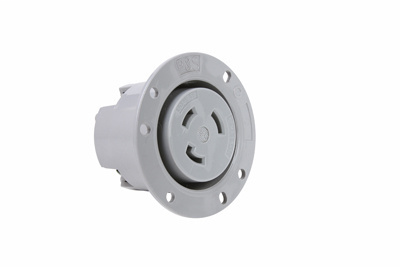 30 Amp NEMA L530 Flanged Outlet, Gray