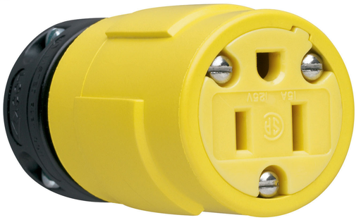 Mayer-15A, 125V Rubber Dust-Tight Connector, Yellow-1