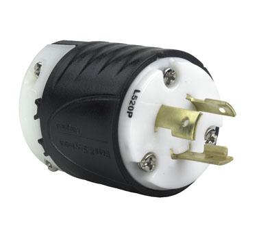 Mayer-20 Amp NEMA Plug L520 - Black Back, White Front Body-1