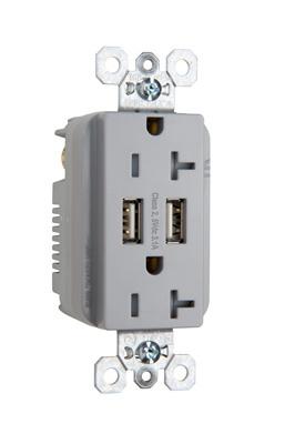 Mayer-Fed Spec Grade USB Charger w/ Tamper-Resistant 20A Duplex Receptacles, Gray-1