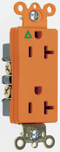 Mayer-Isolated Ground Heavy-Duty Decorator Spec Grade Receptacles, Back & Side Wire, 20A, 125V, Orange-1