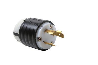 30 Amp NEMA L830 Plug - Black Back, White Front Body