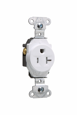 Mayer-Tamper-Resistant Construction Spec Grade Single Receptacles, Back & Side Wire, 20A, 125V, White-1