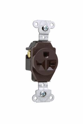 Mayer-Heavy-Duty Spec Grade Single Receptacles, Side Wire, 20A, 250V, Brown-1