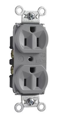 Mayer-Hard Use Spec Grade Receptacle, Back & Side Wire, 15A, 125V, Gray-1