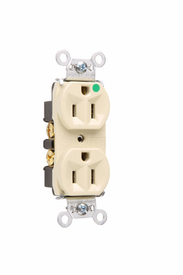 Mayer-Heavy-Duty Hospital Grade Compact Design Receptacles, Back & Side Wire, 15A, 125V, Ivory-1