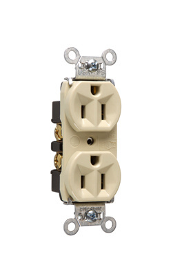 Mayer-Hard Use Spec Grade Receptacle, Back & Side Wire, 15A, 125V, Ivory-1