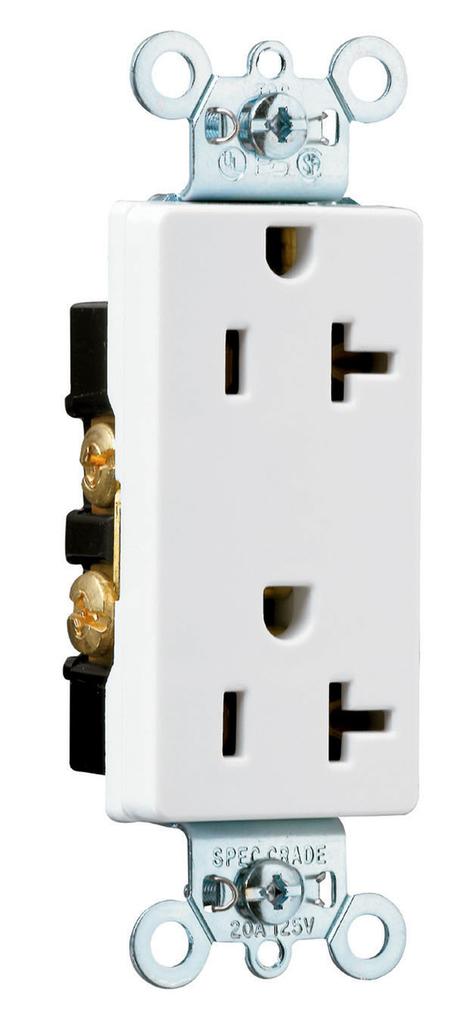 Mayer-Heavy-Duty Decorator Spec Grade Receptacles, Side Wire, 20A, 125V, White-1