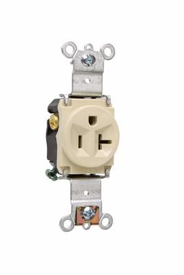Mayer-Heavy-Duty Spec Grade Single Receptacles, Back & Side Wire, 20A, 125V, Ivory-1