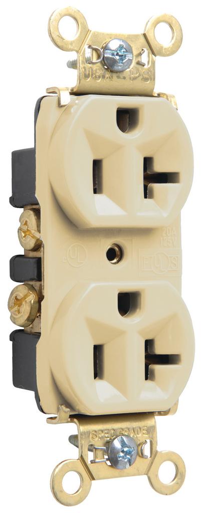 Mayer-Heavy-Duty Spec Grade Receptacles, Back & Side Wire, 20A, 125V, Ivory-1