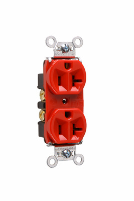 Mayer-Hard Use Spec Grade Receptacle, Back & Side Wire, 20A, 125V, Red-1