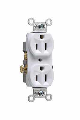 Mayer-Commercial Spec Grade Receptacle, Side Wire, 15A, 125V, White-1