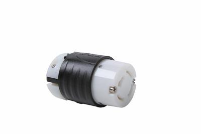 Industrial Spec Grade Turnlok 20A Non-NEMA Connector, Black Back, White Front Body
