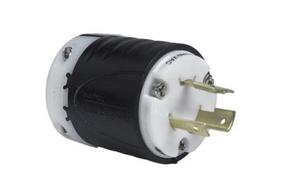 Mayer-20 Amp NEMA Plug L820 - Black Back, White Front Body-1