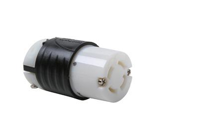 30 Amp Non-NEMA Connector - Black Back, White Front Body
