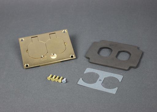 Mayer-Omnibox® Rectangular Brass Duplex Cover Plate-1