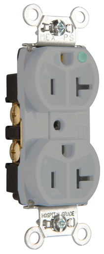 Mayer-Hospital-Grade Tamper-Resistant Compact Design Receptacle, Back & Side Wire, 20A, 125V, Gray-1