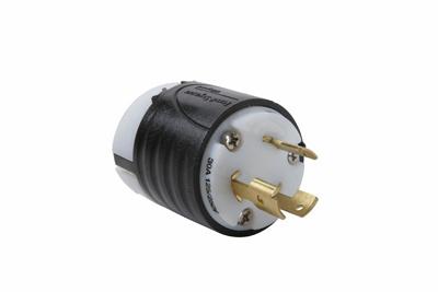 30 Amp Non-NEMA 3 Wire Plug - Black Back, White Front Body