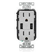 LEV T5632-GY RECEPTACLE/USB CHARGER