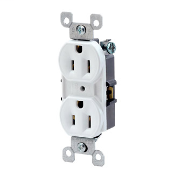 Leviton 5248-WCP 15 Amp 125 Volt NEMA 5-15R 2-Pole 3 Wire Straight Blade Residential Grade with Ears White Duplex Receptacle