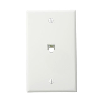 Leviton,40249-W,TELEPHONE WP 6P4C W/ SCREW TERM WH