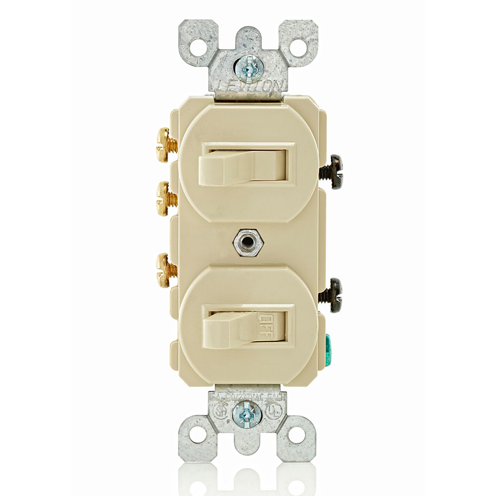 15 Amp, 120/277 Volt, Duplex Style Single-Pole / 3-Way AC Combination Switch, Commercial Grade, Non-Grounding, Side Wired - Ivory