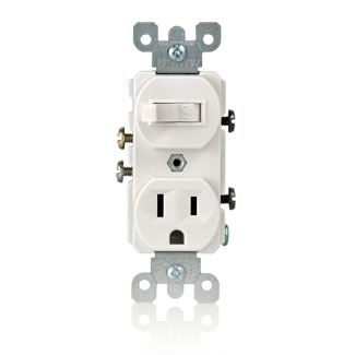 15 Amp, 120 Volt, Duplex Style Single-Pole / 5-15R AC Combination Switch, Commercial Grade, Grounding, Side Wired, - White