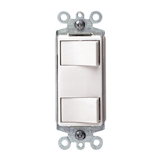 Individual Switches: 15 Amp 120 Volt/Devices Total: 20 Amp 120 Volt. Decora Dual Rocker Combination Switch w/ Ground Screw Terminals and Push-in Wiring. White.