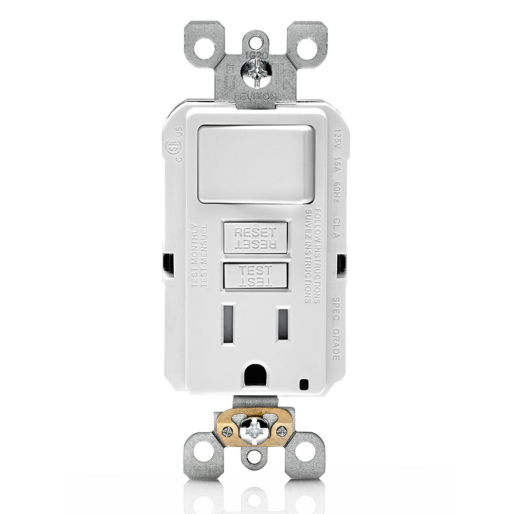 LEV GFSW1-W RECEPTACLE/SWITCH