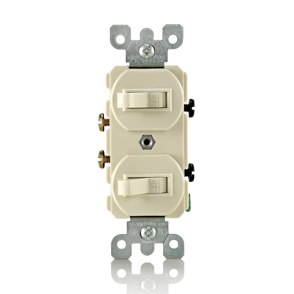 15 Amp, 120/277 Volt, Duplex Style Single-Pole / Single-Pole AC Combination Switch, Commercial Grade, Grounding, Side Wired, - Ivory