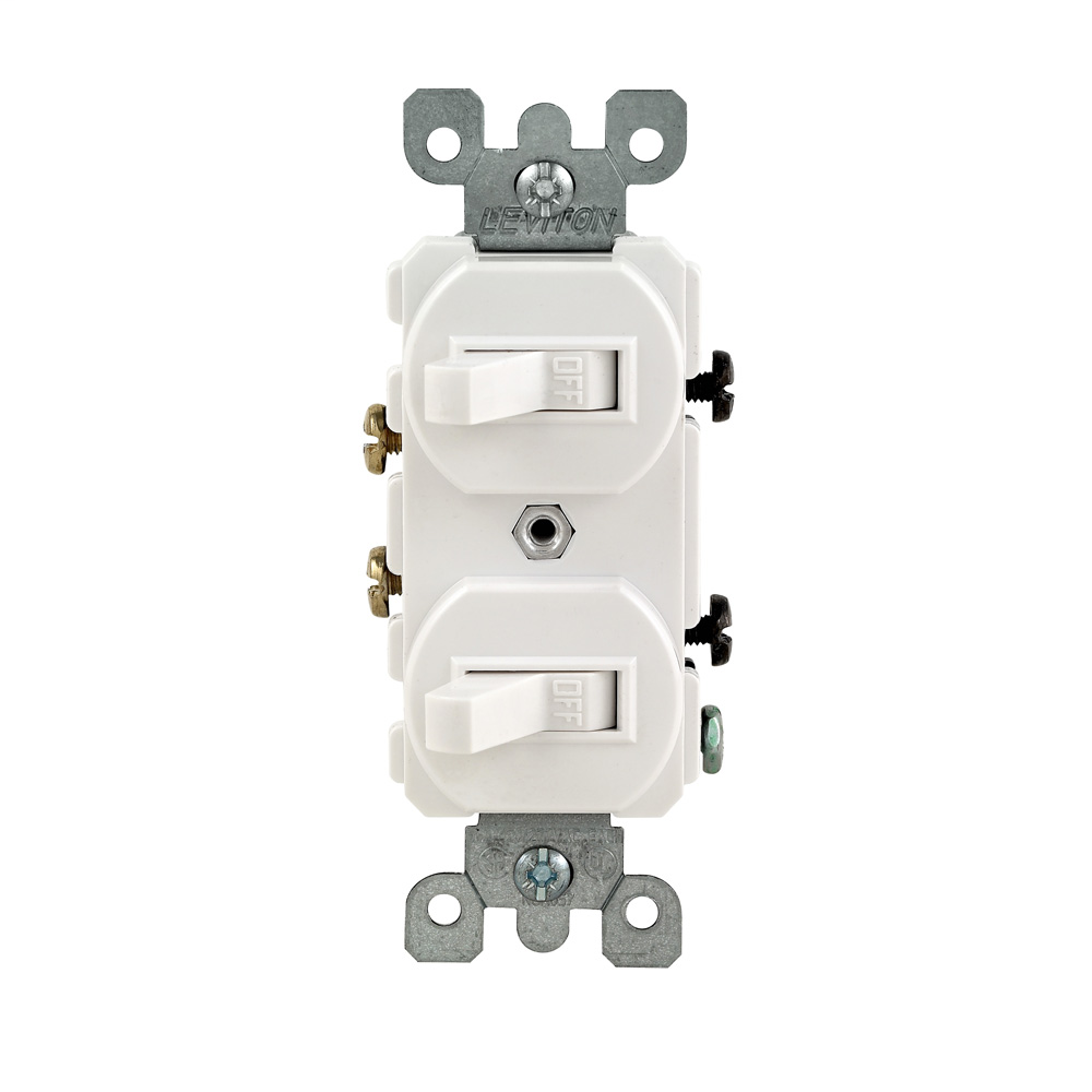 15 Amp, 120/277 Volt, Duplex Style Single-Pole / Single-Pole AC Combination Switch, Commercial Grade, Grounding, Side Wired, - White