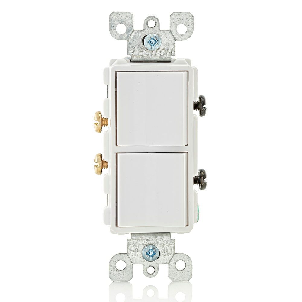 15 Amp, 120/277 Volt, Decora Single-Pole / Single-Pole AC Combination Switch, Commercial Grade, Grounding, Side Wired- White