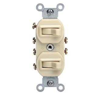 15 Amp, 120/277 Volt, Duplex Style 3-Way / 3-Way AC Combination Switch, Commercial Grade, Non-Grounding, Side Wired - Ivory