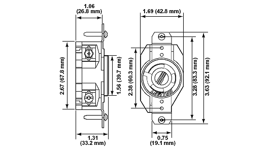 leviton 2610 locking receptacle, single, 30a,l5 30r Nema L5-30R Diagram