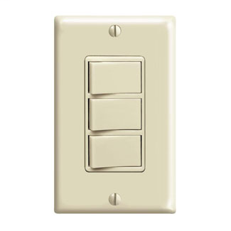 Individual Switches: 15 Amp 120 Volt/Device Total 20 Amp 120 Volt. Decora Three Rocker Combination Switches w/ Ground Screw Terminals and push-in wiring. Ivory.