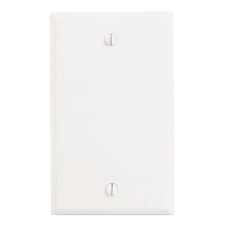 Leviton 88014 2.75 x 0.22 x 4.5 Inch 1-Gang Smooth White Thermoset Box Mount Standard Blank Wallplate