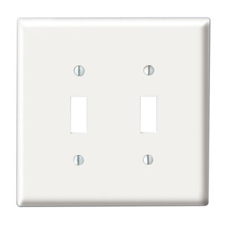 Leviton 88009 4.56 x 0.22 x 4.5 Inch 2-Gang Smooth White Thermoset Device Mount Standard Toggle Switch Wallplate