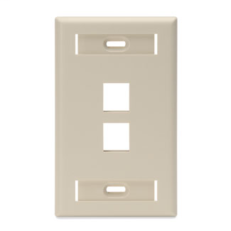 Single-Gang QuickPort Wallplate with ID Windows, 2-Port, Ivory