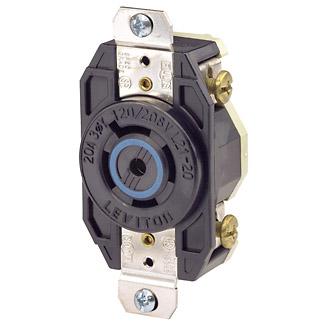Leviton 2510 20 Amp 120/208 Volt NEMA L21-20R 4-Pole 5 Wire Flush Mounting Industrial Grade Grounding Black Locking Receptacle