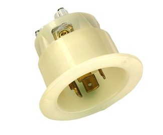 20 Amp, 120/208 Volt 3-Phase Y, NEMA L18-20P, 4P, 4W, Flanged Inlet Locking Receptacle, Industrial Grade, Non-Grounding - WHITE