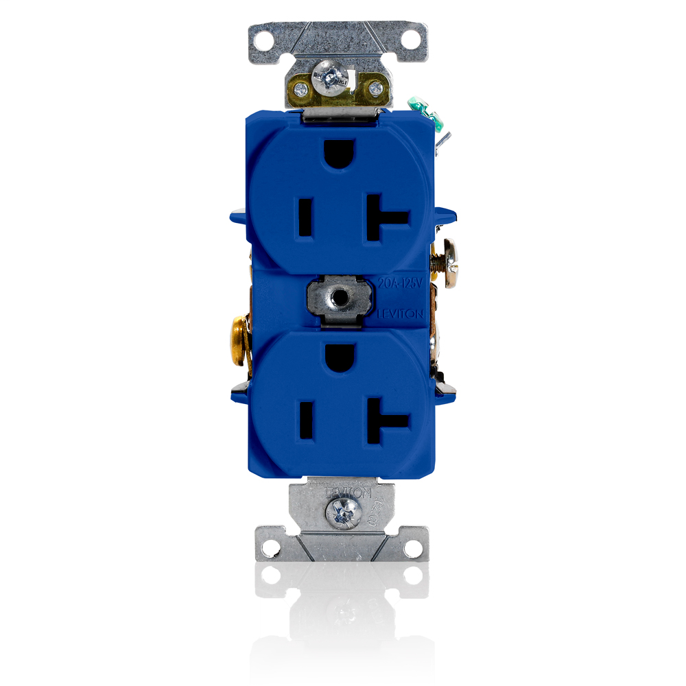 Duplex Receptacle Outlet, Heavy-Duty Industrial Specification Grade, Smooth Face, 20 Amp, 125 Volt, Back or Side Wire, NEMA 5-20R, 2-Pole, 3-Wire, Self-Grounding - Blue