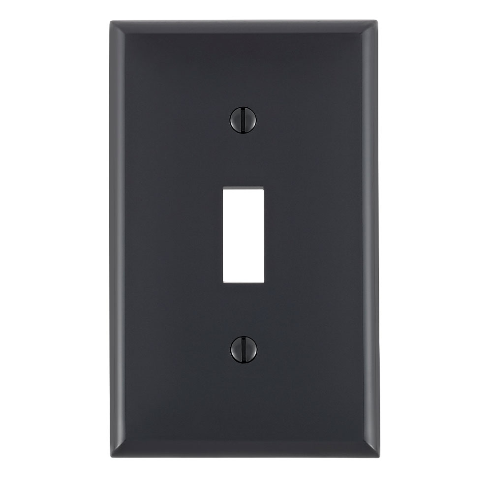 Leviton 80701-E 2.75 x 0.22 x 4.5 Inch 1-Gang Smooth Black Thermoplastic Nylon Device Mount Standard Toggle Switch Wallplate