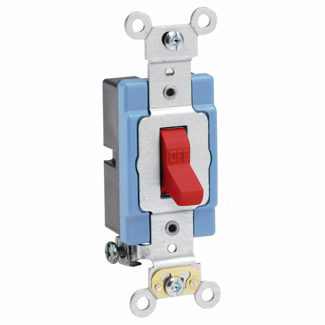 Leviton 1201-2R 15 Amp 120/277 Volt Extra Heavy Duty Spec Grade Self Grounding Red Toggle 1-Pole AC Quiet Switch